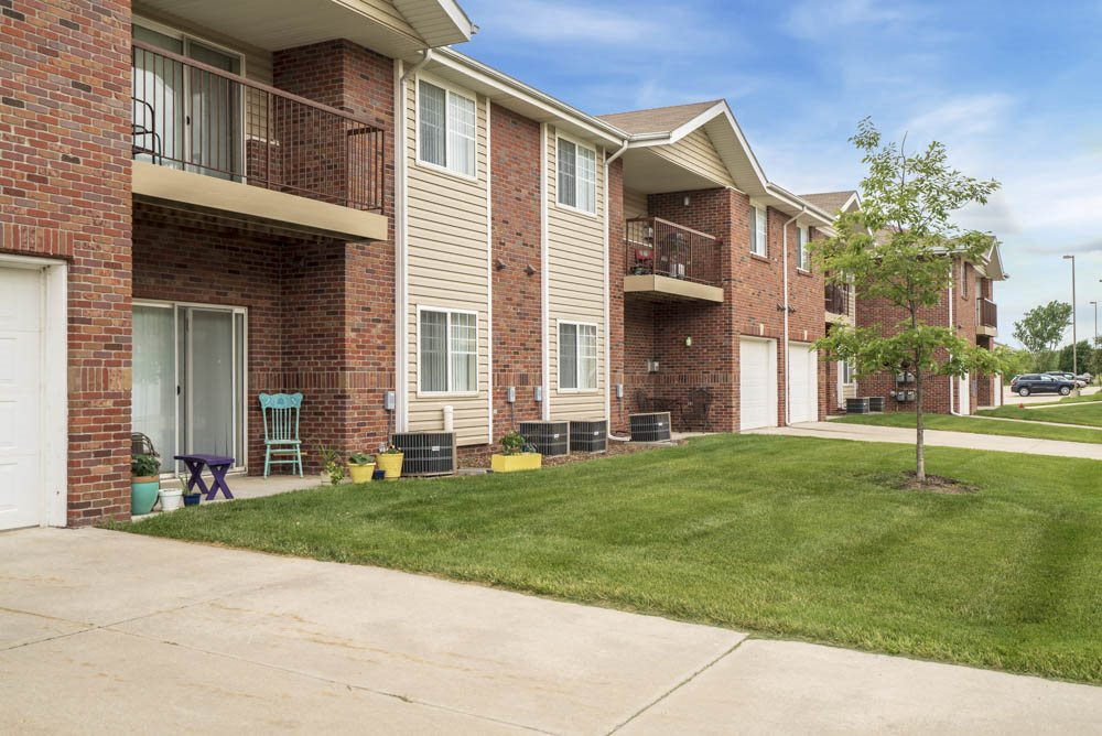Exterior of Northbrook Apartments with attached garages