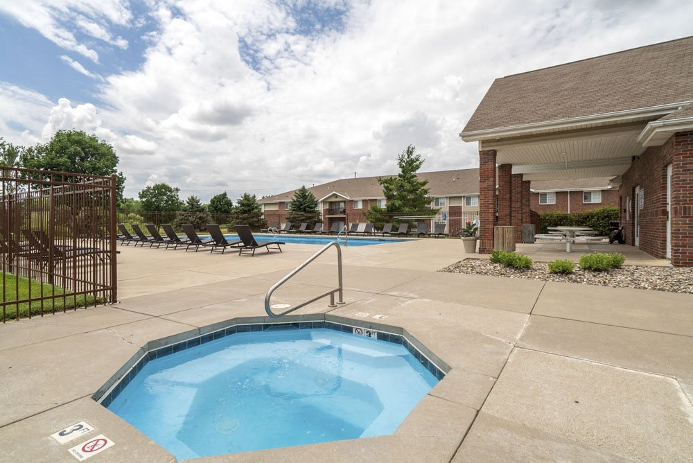Outdoor spa hot tub at The Northbrook Apartments in Lincoln, NE