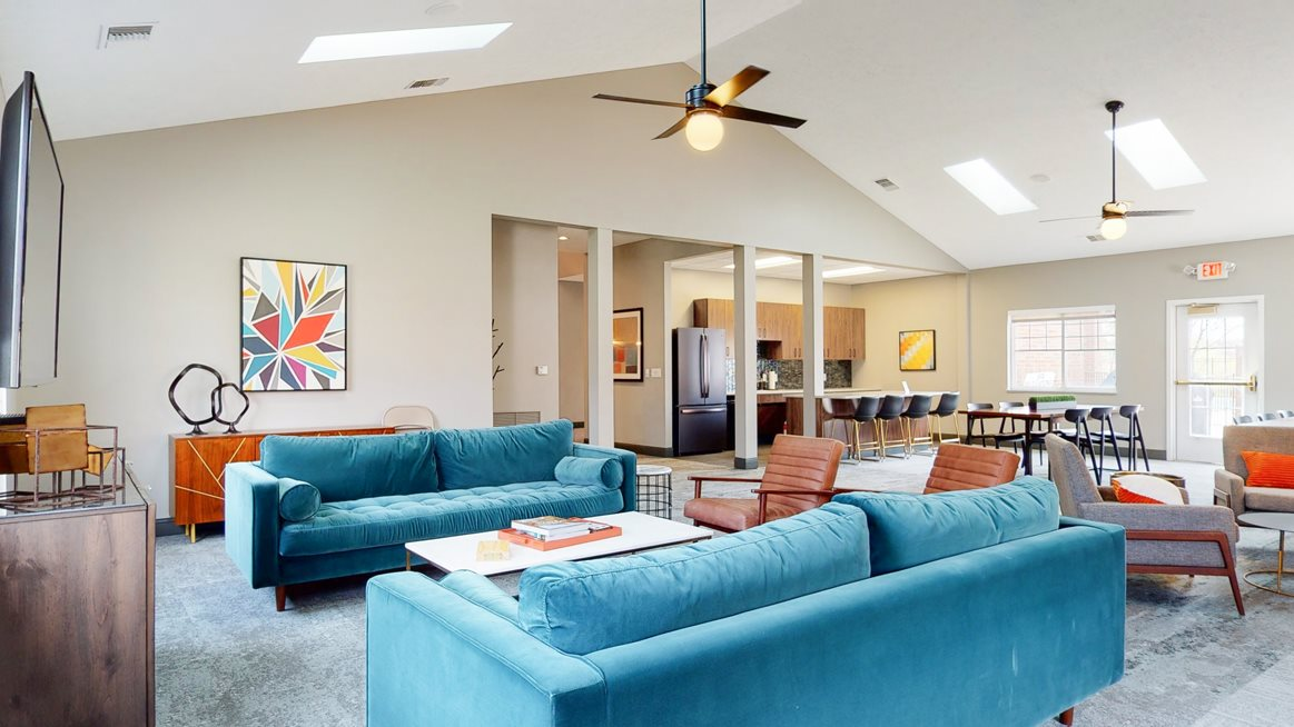 Community clubhouse for relaxing at entertaining at The Northbrook Apartments in Lincoln, NE