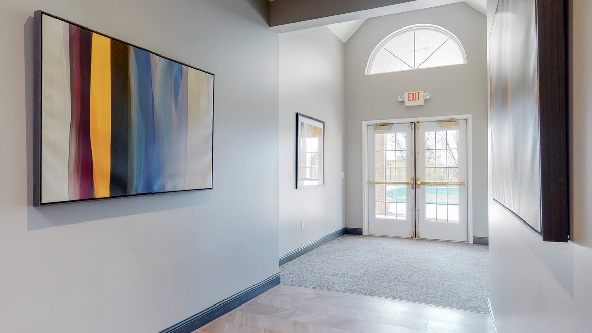Clubhouse entryway at The Northbrook Apartments in Lincoln, NE