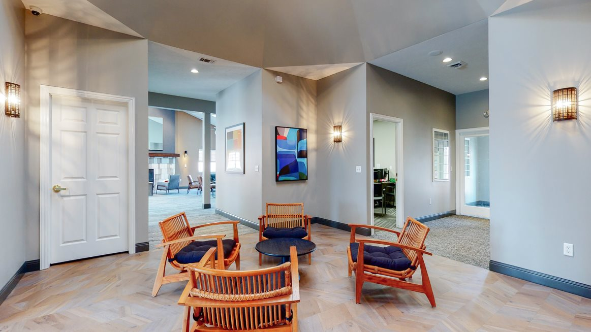 Sitting area in the community clubhouse at The Northbrook Apartments