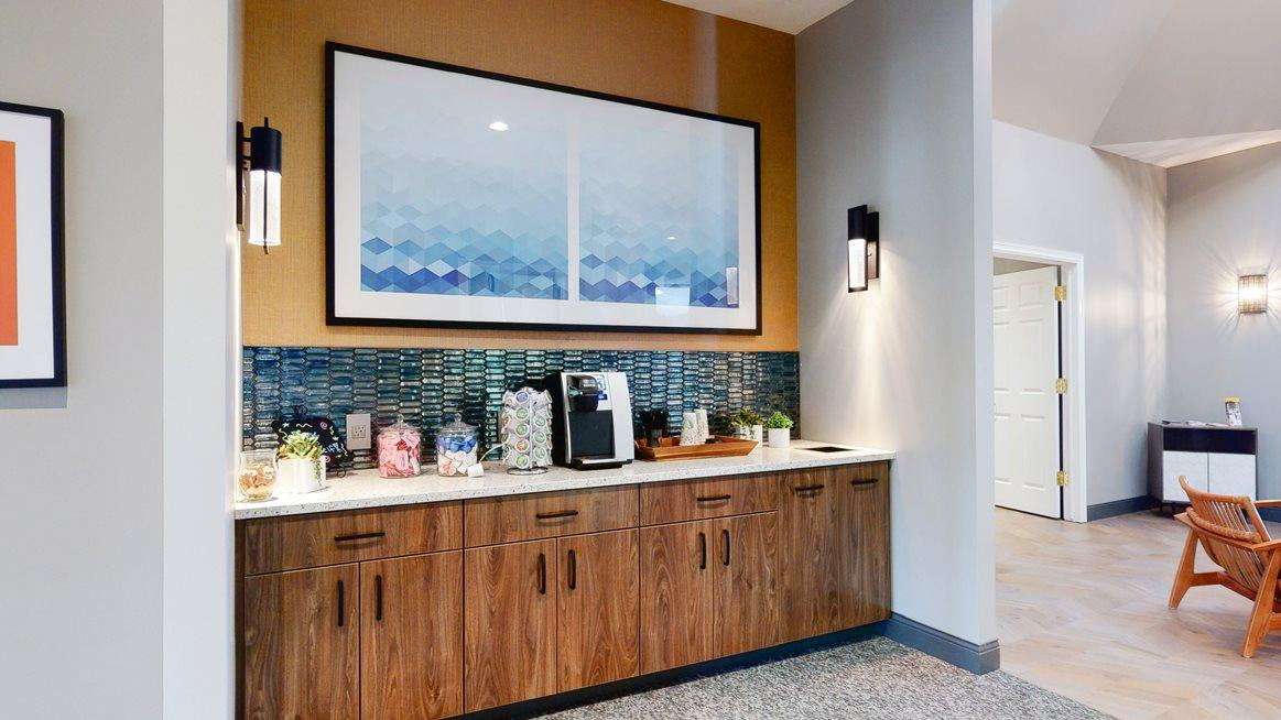 Coffee bar in the community clubhouse at The Northbrook Apartments in Lincoln, NE