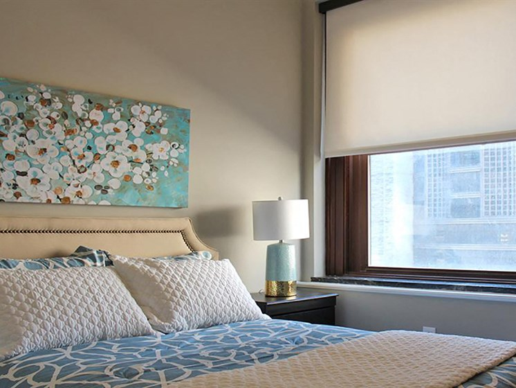 Bedroom With Expansive Windows at Residences at Leader, Ohio, 44114