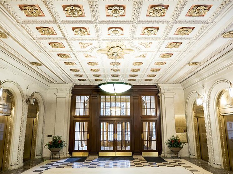 Ornate Marble Lobby with Tiffany Elevators at Residences at Leader, Cleveland, 44114