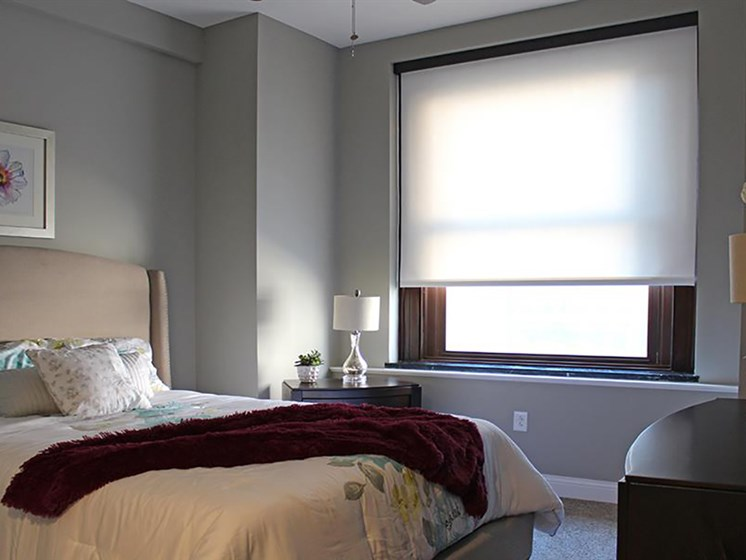 Beautiful Bright Bedroom With Wide Windows at Residences at Leader, Cleveland, OH, 44114