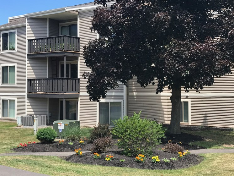 View of Property with Flowers at Whitney Ridge Apartments, Rochester, NY