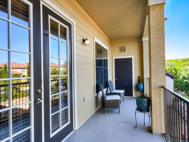 Balcony With Two-Doors at 3500 Westlake Apartments in Austin, TX