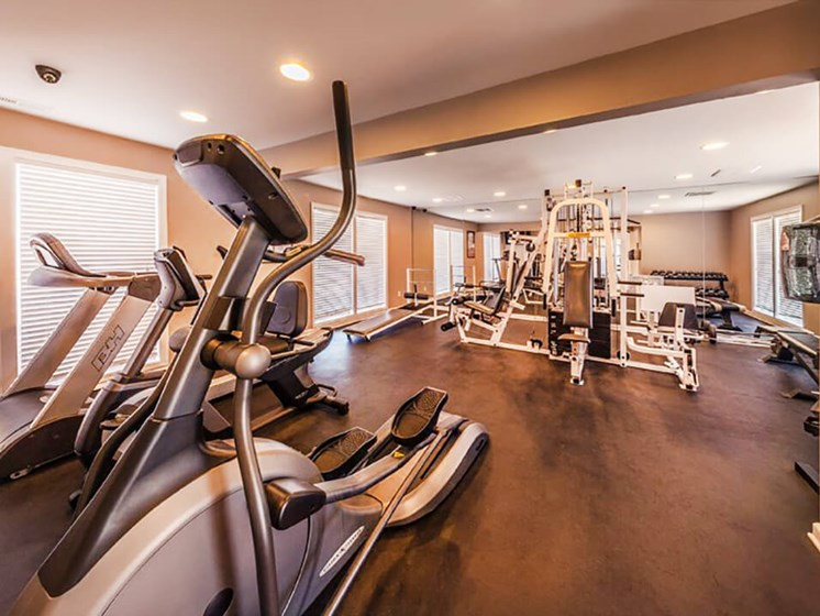 fitness center at Brookwood Apartments