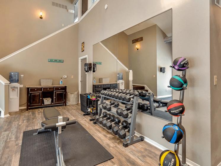 fitness center at The Retreat at Woodridge apartments