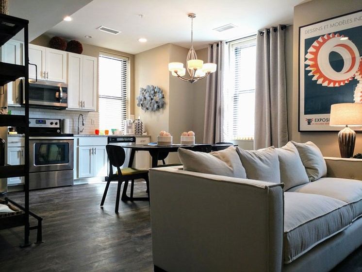 Modern Living Area With Kitchen at Studebaker Lofts, South Bend, Indiana