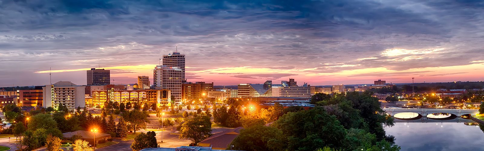 Panoramic View of Downtown South Bend Skyline at Studebaker Lofts, South Bend, IN, 46601