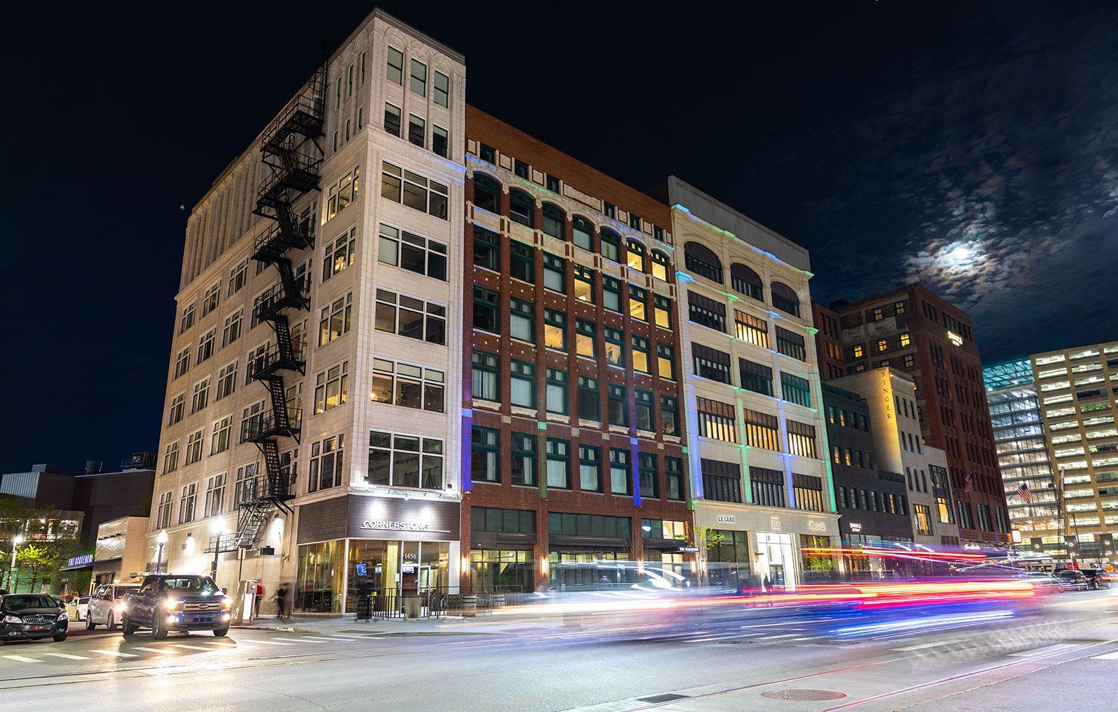 Full building view at The Ferguson Downtown Detroit Apartments, Detroit