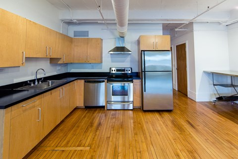 Fully Furnished Kitchen With Stainless Steel Appliances at 1525 Broadway, Detroit, MI, 48226