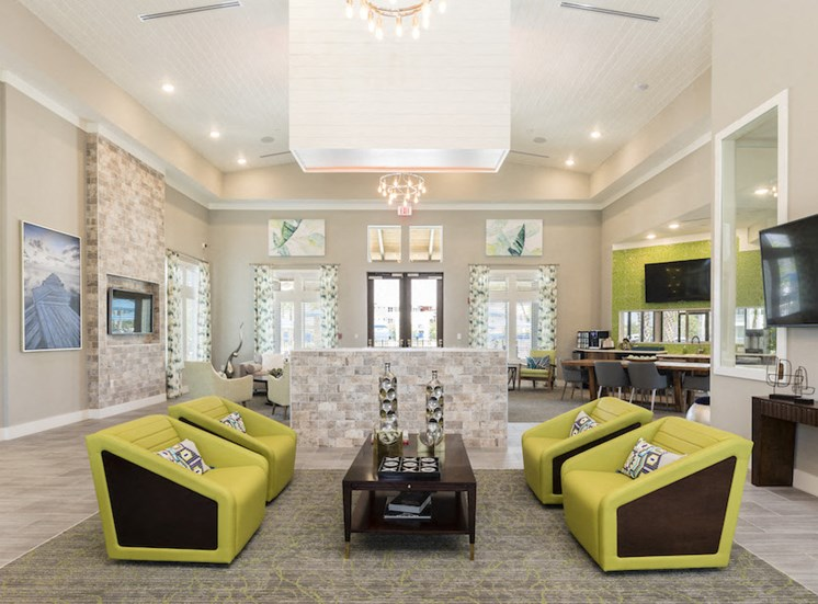 community seating area in modern resident clubhouse