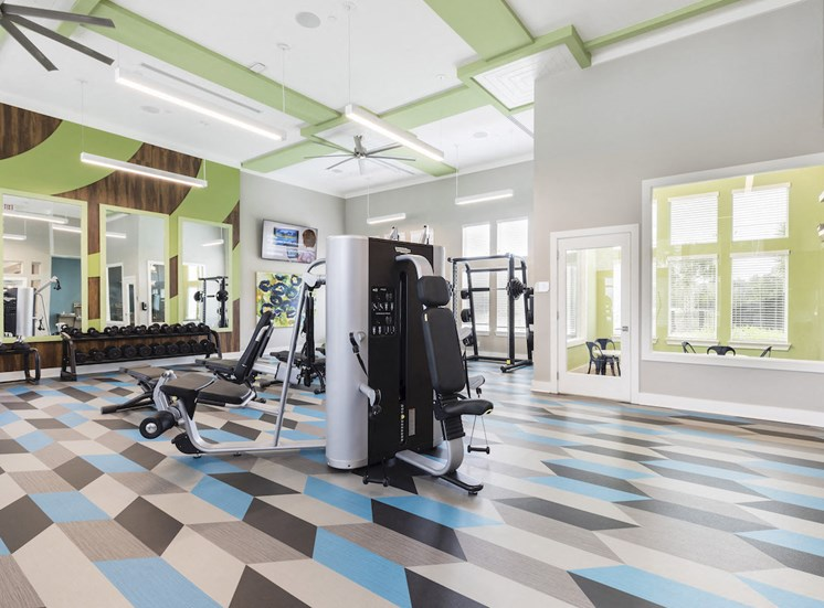 weight tower in center of fitness center