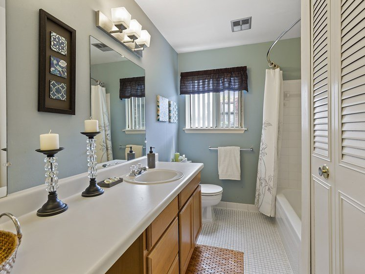 Long Bathroom with Storage Space, Pet Friendly Apartments in Harrison Township, Drawbridge Apartments