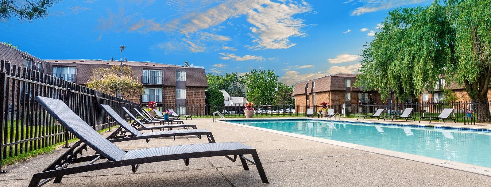 Swimming Pool at Drawbridge Apartments East, Near Clinton Township, Michigan