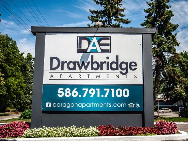Drawbridge Signage at Drawbridge Apartments East at Harrison Township, Michigan