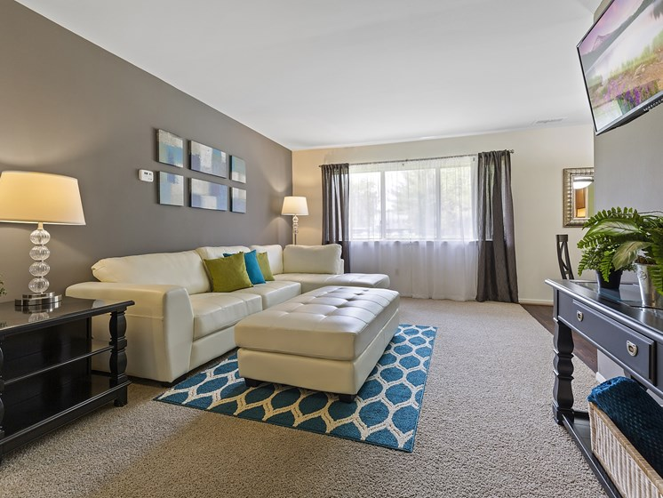 Spacious Living Room at Drawbridge Apartments East at Harrison Township, 48045