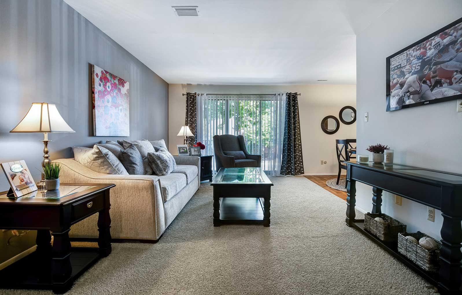 Modern Living Room at Knottingham Apartments, Clinton Township, 48036