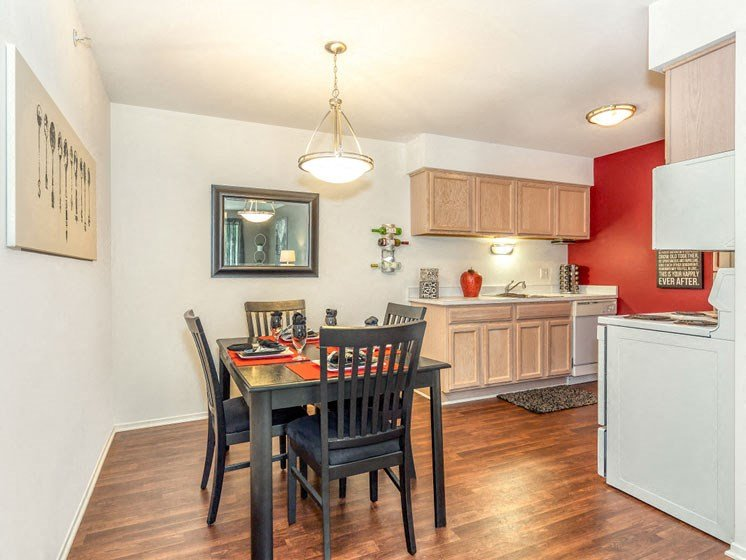 Two bedroom dining and kitchen