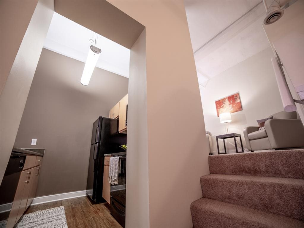 Kitchen Entrance With Stairs at Buckingham Urban Living, Indianapolis, Indiana