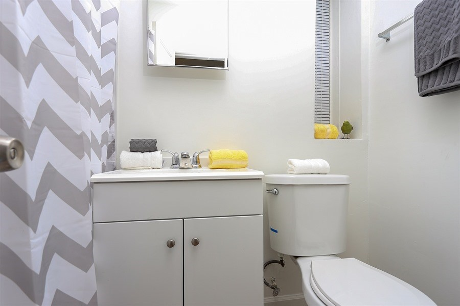 Bathroom in apartment at Pangea Springs in Baltimore, Maryland.