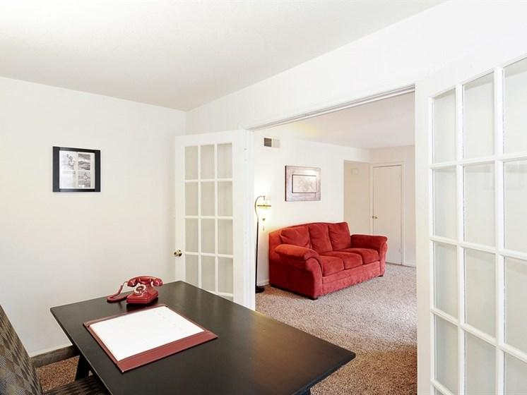 Our apartments at Pangea Prairies in Indianapolis may feature a bonus room or den.