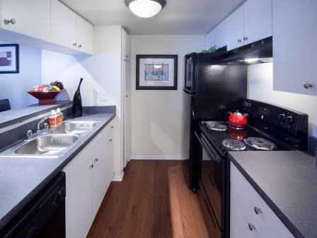 Updated kitchen with white cabinets and black appliances   L'Estancia Apartments