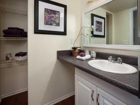Updated bathroom with linen closet   L'Estancia Apartments in Sarasota FL