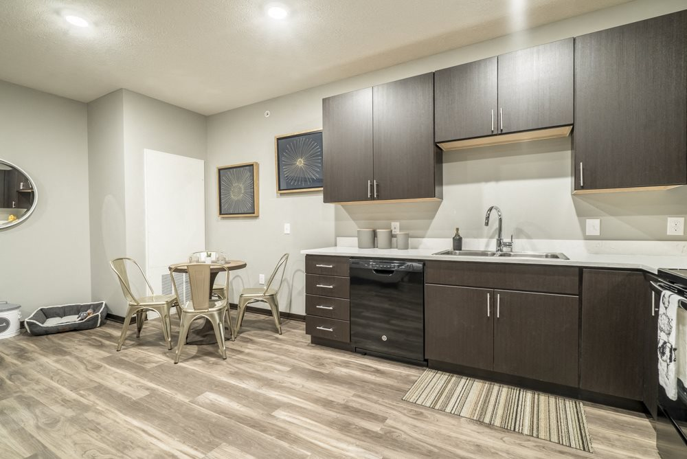 Pet-friendly apartment with dark cabinetry at The Conrad in the Blackstone District in Omaha