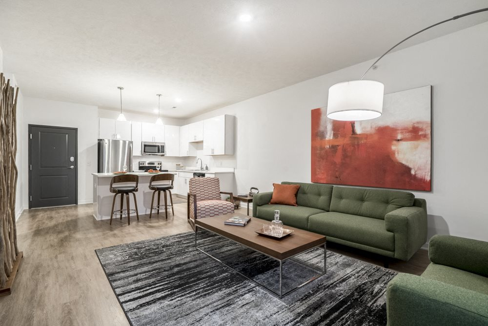 1 bedroom apartment with white cabinets near UNMC in Omaha's Blackstone District