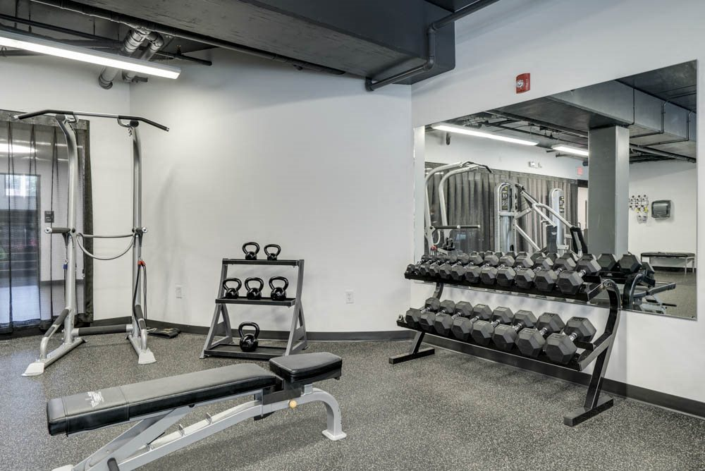 Free weights at The Conrad near UNMC in the Blackstone District Omaha NE 68105