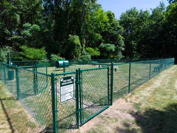 fenced in dog park at Waterford Pines