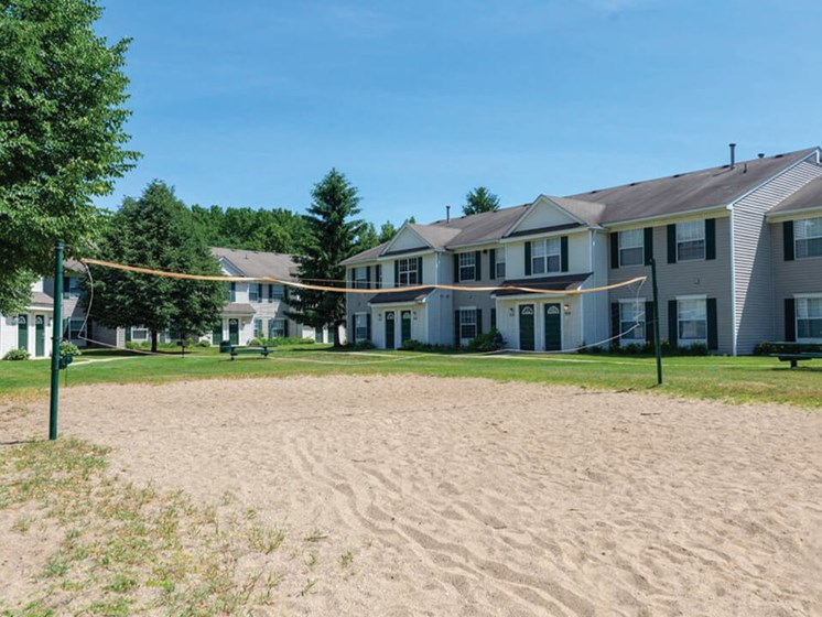 volleyball court at Waterford Pines apartments