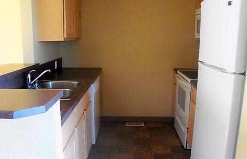 Kitchen with Fridge, Range, and Microwave