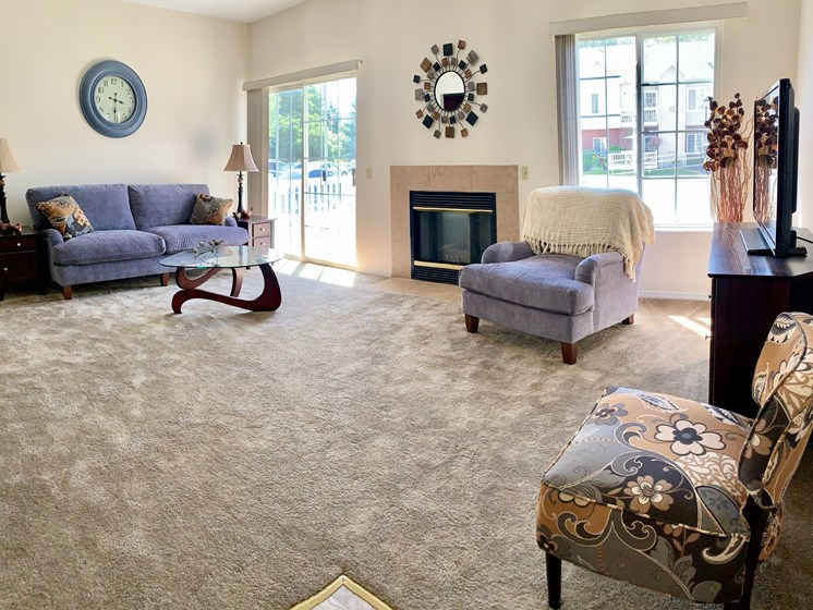 Large Carpeted Living Room at Blueberry Hill Apartments, Rochester, NY
