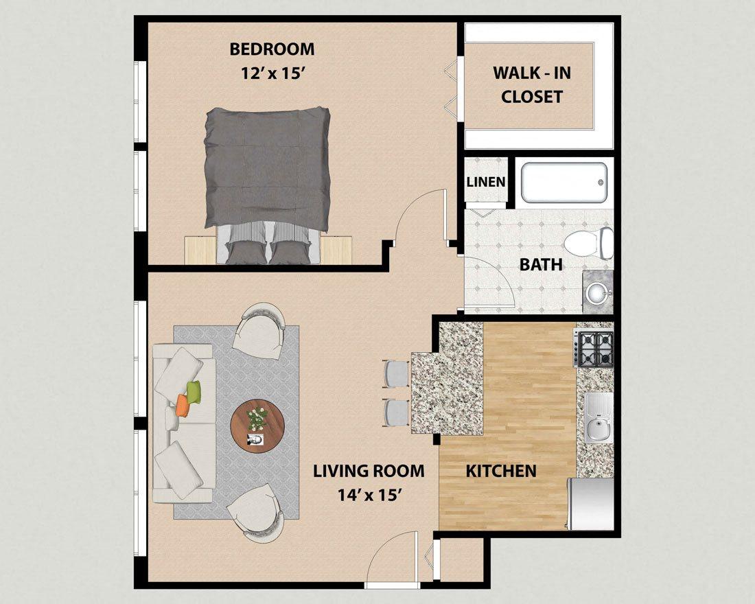 Studio 1 2 Bedroom Floor Plans At Pine Ridge In Moline Il