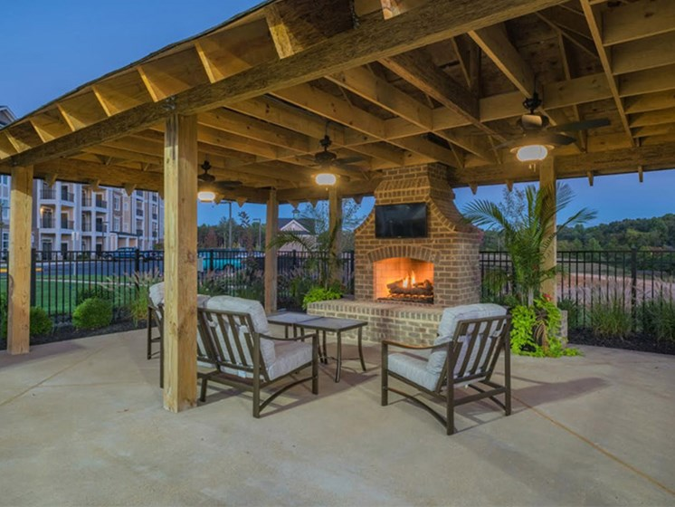 Patio With Fireplace at Abberly Waterstone Apartment Homes by HHHunt, Stafford, 22554
