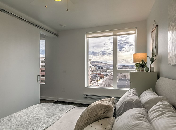 Beautiful Bright Bedroom With Wide Windows at The Fowler, Boise, ID
