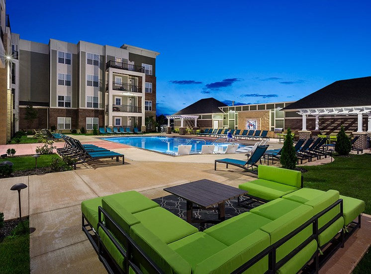 Poolside Lounge Mosaic at Levis Commons Apartments in Perrysburg, OH near Toledo