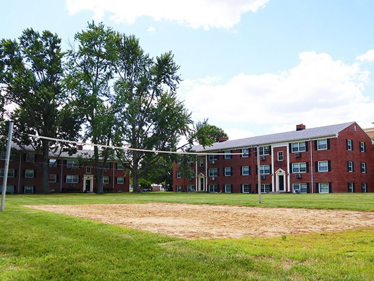 volleyball court at apartment complex