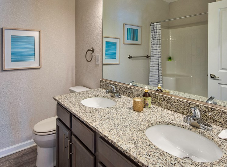 Bathroom vanity at The Choices Luxury Apartments
