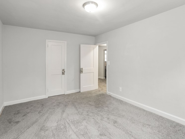 large carpeted bedroom with ceiling light fixture and closet