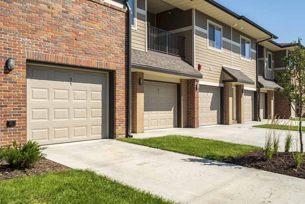 Attached garages at The Villas at Mahoney Park
