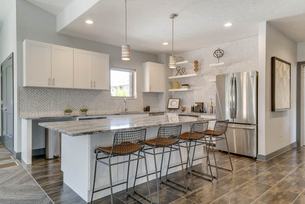 Clubhouse kitchen available for resident use and holding resident events at The Villas at Mahoney Park