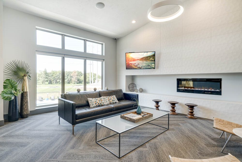 Leasing lounge in the clubhouse welcome center at The Villas at Mahoney Park
