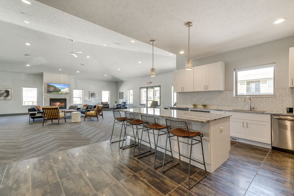 Full kitchen in the clubhouse for resident use at The Villas at Mahoney Park