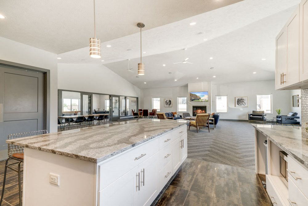 Resident kitchen in the clubhouse at The Villas at Mahoney Park