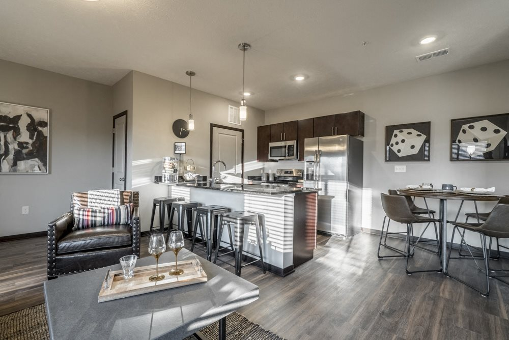 Open floor plan living room and kitchen at The Villas at Mahoney Park